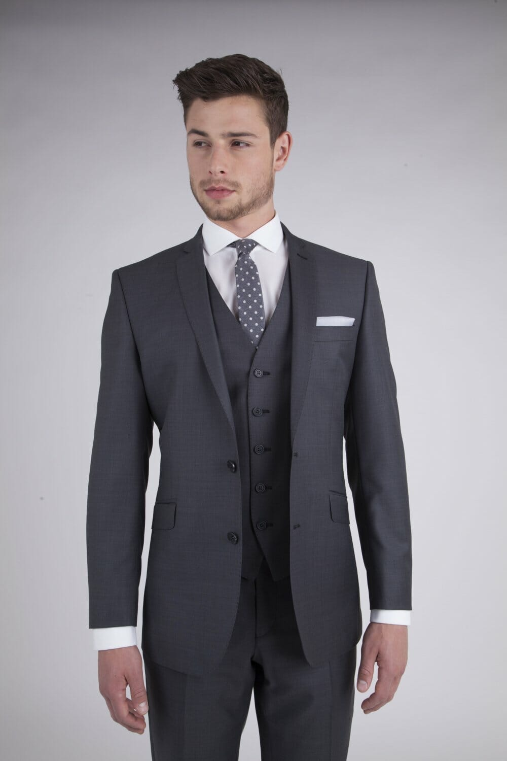 Charcoal Rental Suit Con Murphys Menswear Tailored Jacket With Twin Buttons